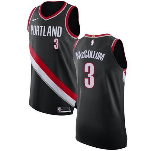 Men's Adidas Portland Trail Blazers #3 C.J. McCollum Authentic Black Road NBA Jersey