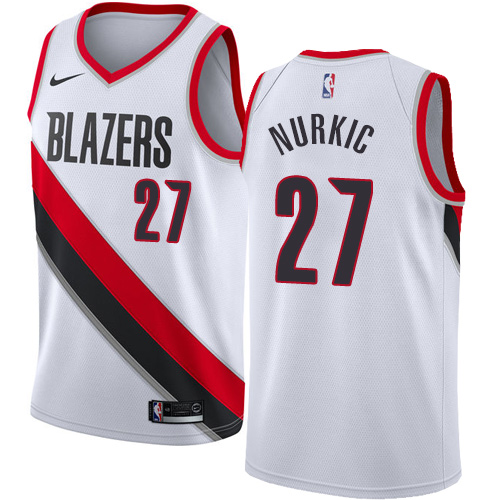Men's Adidas Portland Trail Blazers #27 Jusuf Nurkic Authentic White Home NBA Jersey