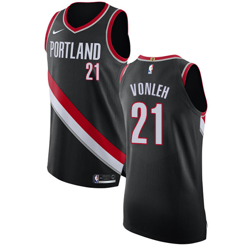 #21 Nike Authentic Noah Vonleh Men's Black NBA Jersey - Portland Trail Blazers Icon Edition