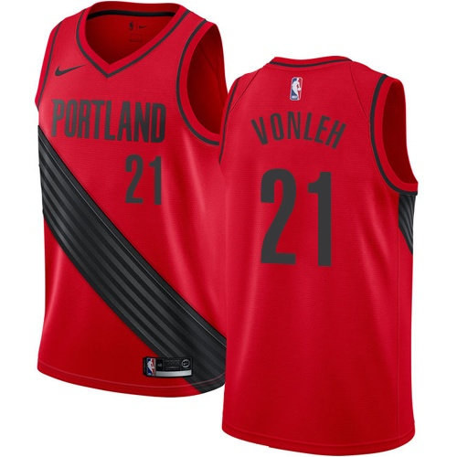 #21 Nike Authentic Noah Vonleh Men's Red NBA Jersey - Portland Trail Blazers Statement Edition