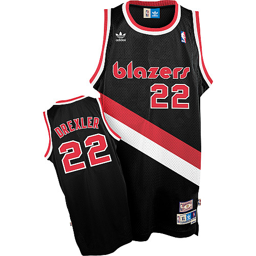 #22 Adidas Swingman Clyde Drexler Men's Black NBA Jersey - Portland Trail Blazers Throwback