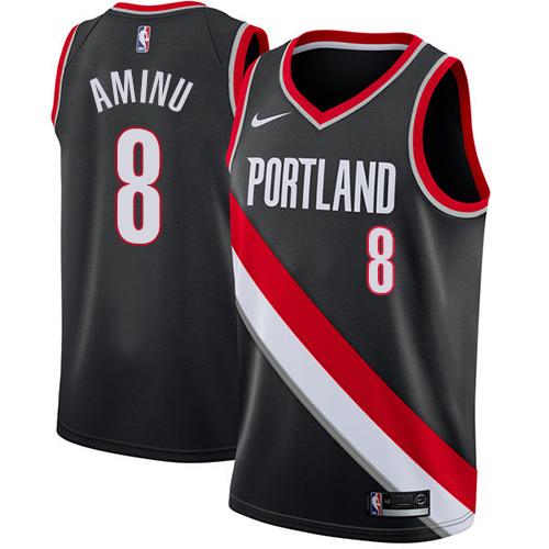 #8 Nike Swingman Al-Farouq Aminu Men's Black NBA Jersey - Portland Trail Blazers Icon Edition