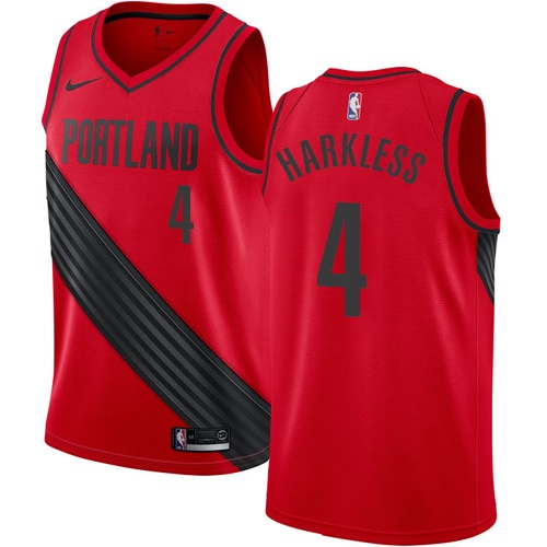 #4 Nike Swingman Moe Harkless Men's Red NBA Jersey - Portland Trail Blazers Statement Edition