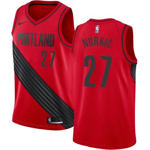 #27 Nike Swingman Jusuf Nurkic Youth Red NBA Jersey - Portland Trail Blazers Statement Edition