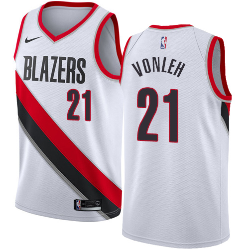 #21 Nike Swingman Noah Vonleh Youth White NBA Jersey - Portland Trail Blazers Association Edition
