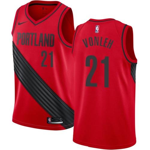 #21 Nike Swingman Noah Vonleh Youth Red NBA Jersey - Portland Trail Blazers Statement Edition