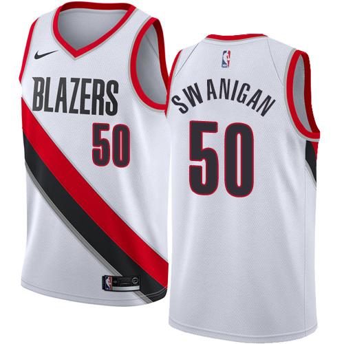 #50 Nike Swingman Caleb Swanigan Women's White NBA Jersey - Portland Trail Blazers Association Edition