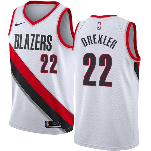 #22 Nike Swingman Clyde Drexler Women's White NBA Jersey - Portland Trail Blazers Association Edition