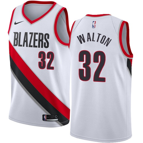 #32 Nike Swingman Bill Walton Women's White NBA Jersey - Portland Trail Blazers Association Edition