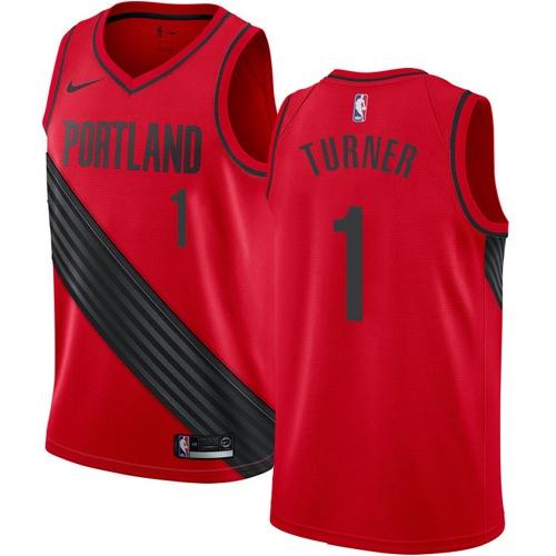 #1 Nike Swingman Evan Turner Youth Red NBA Jersey - Portland Trail Blazers Statement Edition