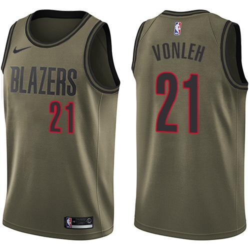 #21 Nike Swingman Noah Vonleh Men's Green NBA Jersey - Portland Trail Blazers Salute to Service