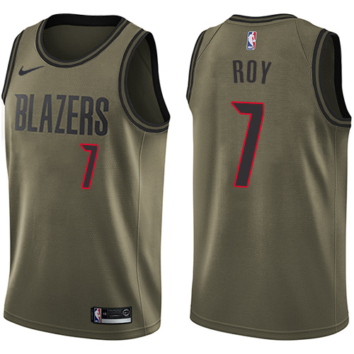 #7 Nike Swingman Brandon Roy Men's Green NBA Jersey - Portland Trail Blazers Salute to Service