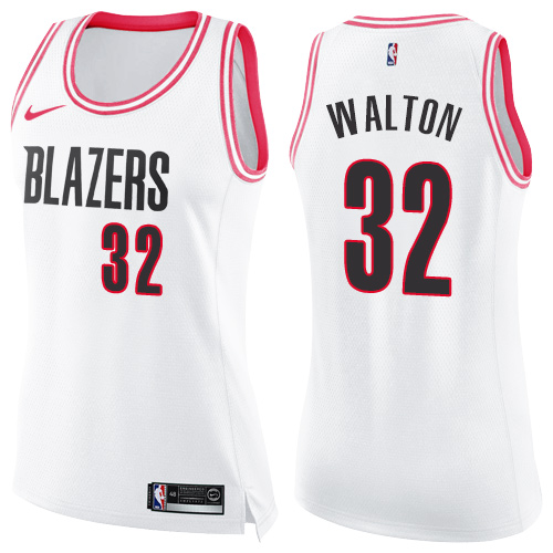 #32 Nike Swingman Bill Walton Women's White/Pink NBA Jersey - Portland Trail Blazers Fashion