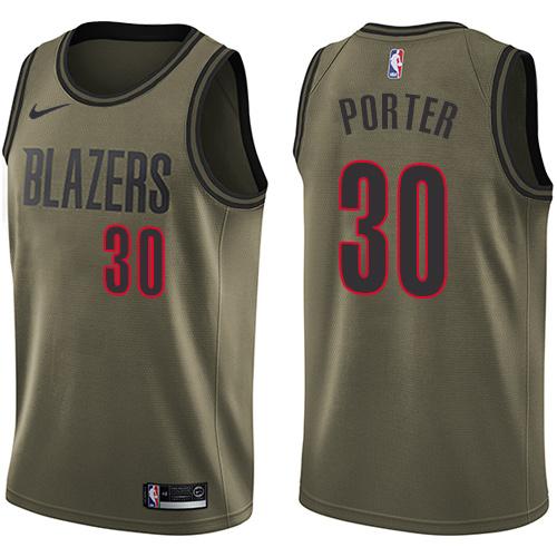 #30 Nike Swingman Terry Porter Men's Green NBA Jersey - Portland Trail Blazers Salute to Service