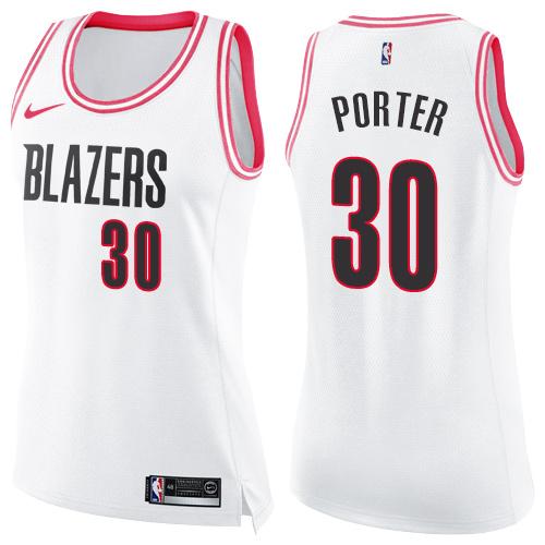 #30 Nike Swingman Terry Porter Women's White/Pink NBA Jersey - Portland Trail Blazers Fashion