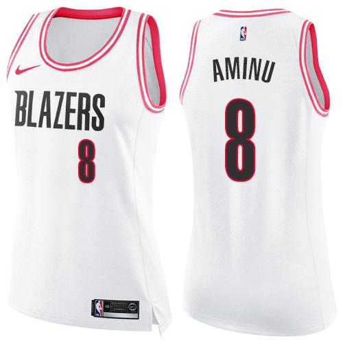 #8 Nike Swingman Al-Farouq Aminu Women's White/Pink NBA Jersey - Portland Trail Blazers Fashion