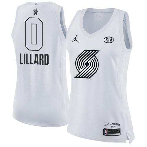 5eb8fef0328  0 Nike Jordan Swingman Damian Lillard Women s White NBA Jersey - Portland  Trail Blazers 2018