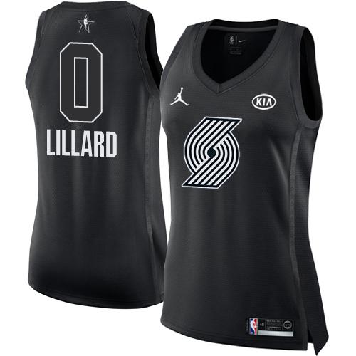 #0 Nike Jordan Swingman Damian Lillard Women's Black NBA Jersey - Portland Trail Blazers 2018 All-Star Game