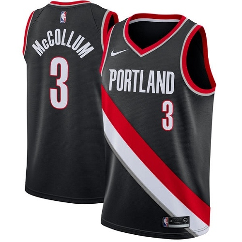 #3 Nike Swingman C.J. McCollum Men's Black NBA Jersey - Portland Trail Blazers Icon Edition