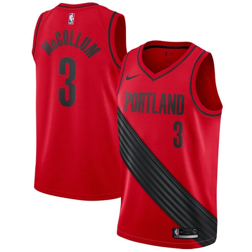 #3 Nike Authentic C.J. McCollum Men's Red NBA Jersey - Portland Trail Blazers Statement Edition