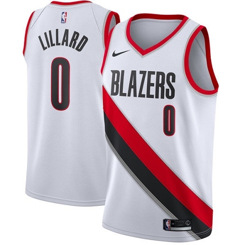 #0 Nike Swingman Damian Lillard Men's White NBA Jersey - Portland Trail Blazers Association Edition