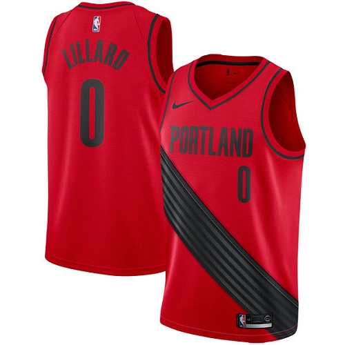 #0 Nike Swingman Damian Lillard Men's Red NBA Jersey - Portland Trail Blazers Statement Edition