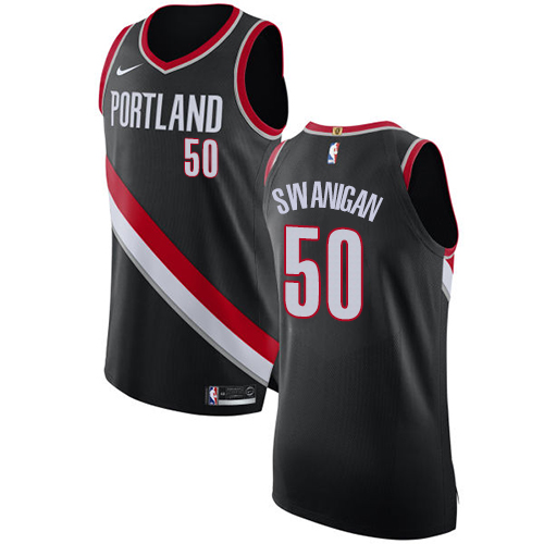 #50 Nike Authentic Caleb Swanigan Men's Black NBA Jersey - Portland Trail Blazers Icon Edition
