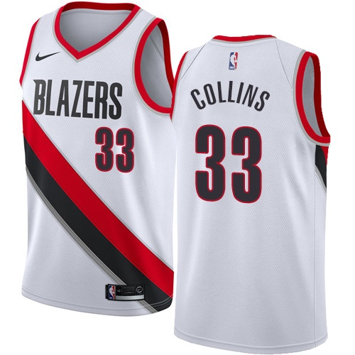 #33 Nike Authentic Zach Collins Men's White NBA Jersey - Portland Trail Blazers Association Edition