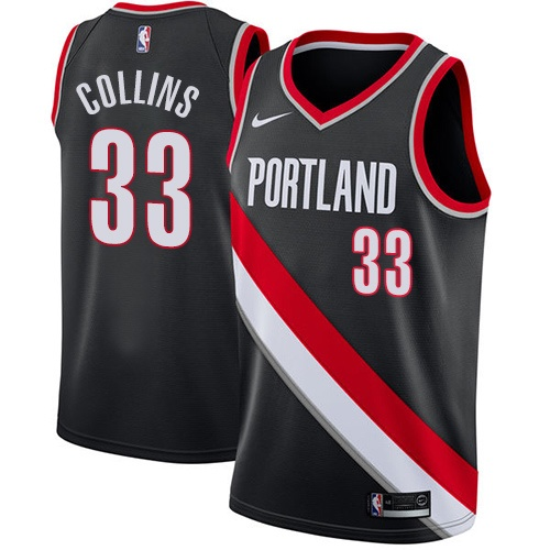 #33 Nike Swingman Zach Collins Men's Black NBA Jersey - Portland Trail Blazers Icon Edition