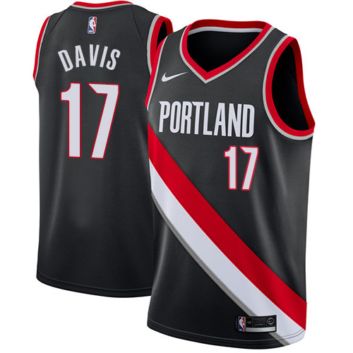 #17 Nike Swingman Ed Davis Men's Black NBA Jersey - Portland Trail Blazers Icon Edition