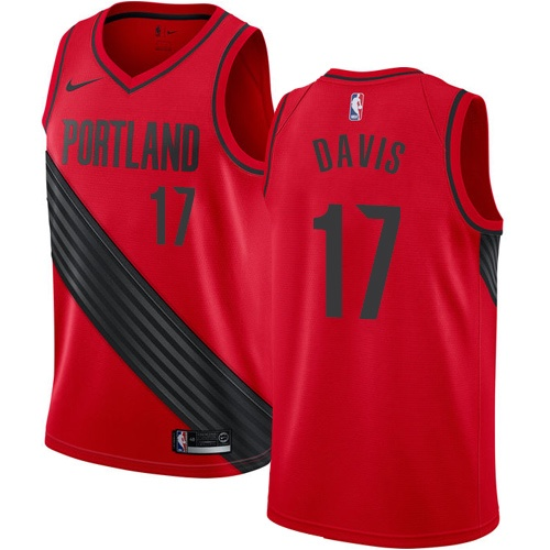 #17 Nike Authentic Ed Davis Men's Red NBA Jersey - Portland Trail Blazers Statement Edition