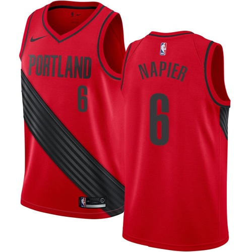 Men's Nike Portland Trail Blazers #6 Shabazz Napier Authentic Red NBA Jersey Statement Edition