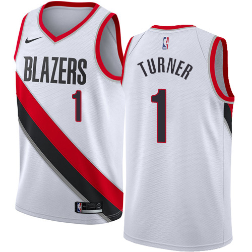 #1 Nike Authentic Evan Turner Men's White NBA Jersey - Portland Trail Blazers Association Edition