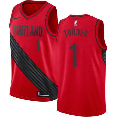 #1 Nike Authentic Evan Turner Men's Red NBA Jersey - Portland Trail Blazers Statement Edition
