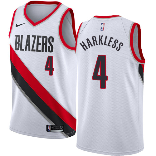 #4 Nike Authentic Moe Harkless Men's White NBA Jersey - Portland Trail Blazers Association Edition