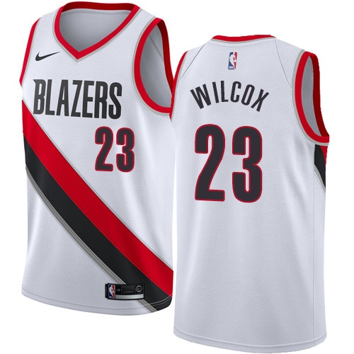 Men's Nike Portland Trail Blazers #23 C.J. Wilcox Authentic White NBA Jersey - Association Edition