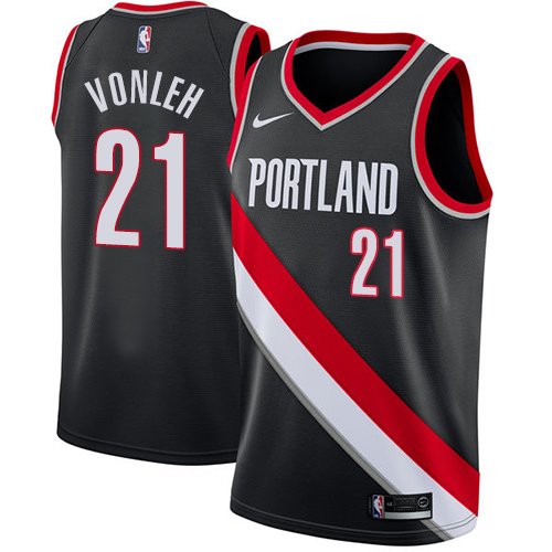 #21 Nike Swingman Noah Vonleh Women's Black NBA Jersey - Portland Trail Blazers Icon Edition