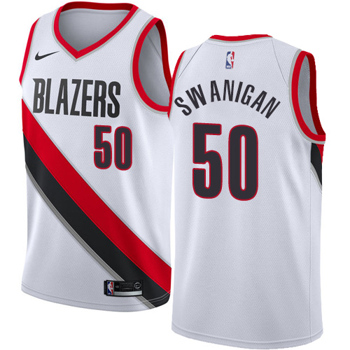 #50 Nike Swingman Caleb Swanigan Women's White NBA Jersey - Portland Trail Blazers Association Edition