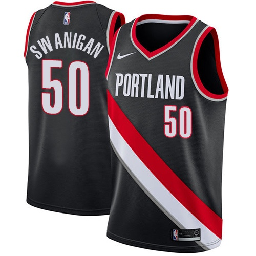 #50 Nike Swingman Caleb Swanigan Women's Black NBA Jersey - Portland Trail Blazers Icon Edition