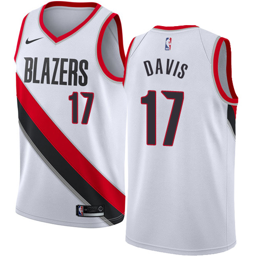 #17 Nike Swingman Ed Davis Women's White NBA Jersey - Portland Trail Blazers Association Edition