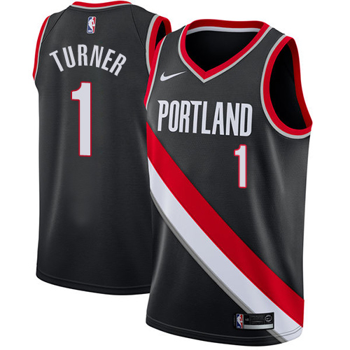 Women's Nike Portland Trail Blazers #1 Evan Turner Swingman Black NBA Jersey - Icon Edition