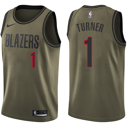 #1 Nike Swingman Evan Turner Men's Green NBA Jersey - Portland Trail Blazers Salute to Service