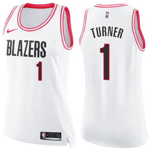 #1 Nike Swingman Evan Turner Women's White/Pink NBA Jersey - Portland Trail Blazers Fashion