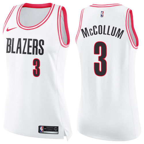 #3 Nike Swingman C.J. McCollum Women's White/Pink NBA Jersey - Portland Trail Blazers Fashion
