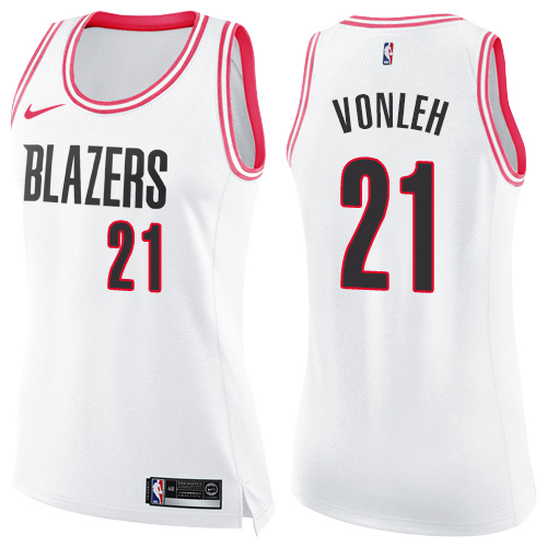 #21 Nike Swingman Noah Vonleh Women's White/Pink NBA Jersey - Portland Trail Blazers Fashion