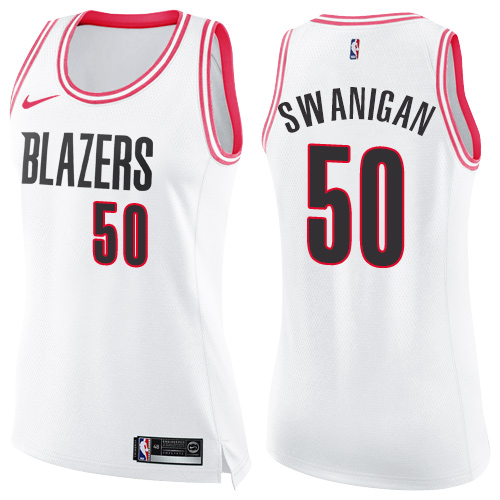 #50 Nike Swingman Caleb Swanigan Women's White/Pink NBA Jersey - Portland Trail Blazers Fashion