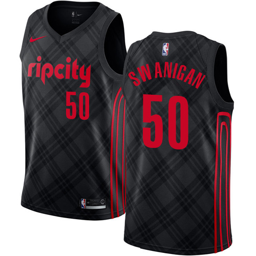 #50 Nike Authentic Caleb Swanigan Men's Black NBA Jersey - Portland Trail Blazers City Edition