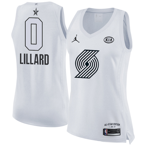 #0 Nike Jordan Swingman Damian Lillard Women's White NBA Jersey - Portland Trail Blazers 2018 All-Star Game