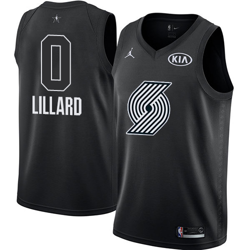 #0 Nike Jordan Swingman Damian Lillard Men's Black NBA Jersey - Portland Trail Blazers 2018 All-Star Game