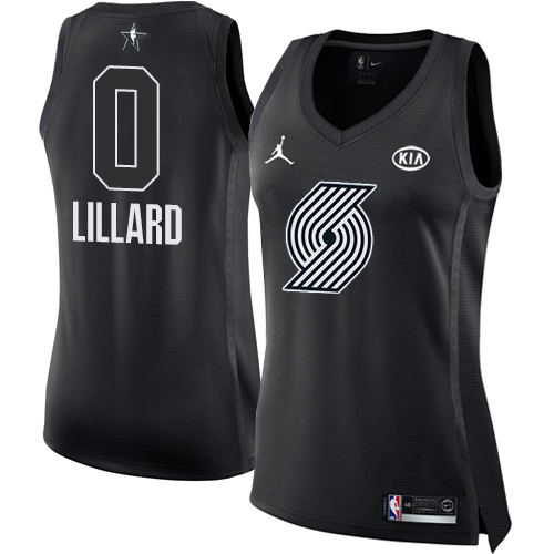 #0 Nike Jordan Swingman Damian Lillard Women's Black NBA Jersey - Portland Trail Blazers 2018 All-Star Game